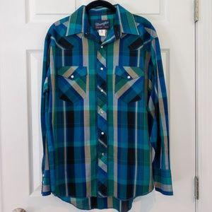 Wrangler X-Long Tails Pearl Snap Western Shirt Vtg